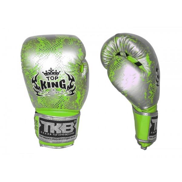 TOP KING 專業拳擊手套 蛇皮系列 - 銀/綠 - TK BG SS SI/GR