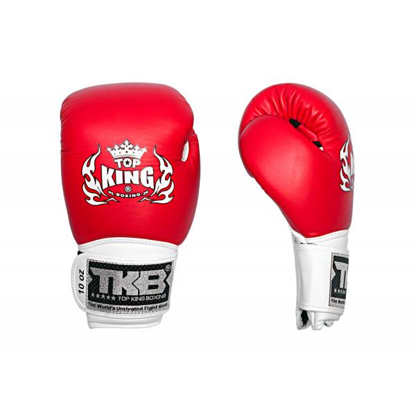 TOP KING 專業拳擊手套 三色 - 紅/白/白 - TK BG TC