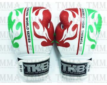 TOP KING 專業拳擊手套 FIGHTER系列 - 白 紅/白 綠 - TK BG FI WH RE/WH GR