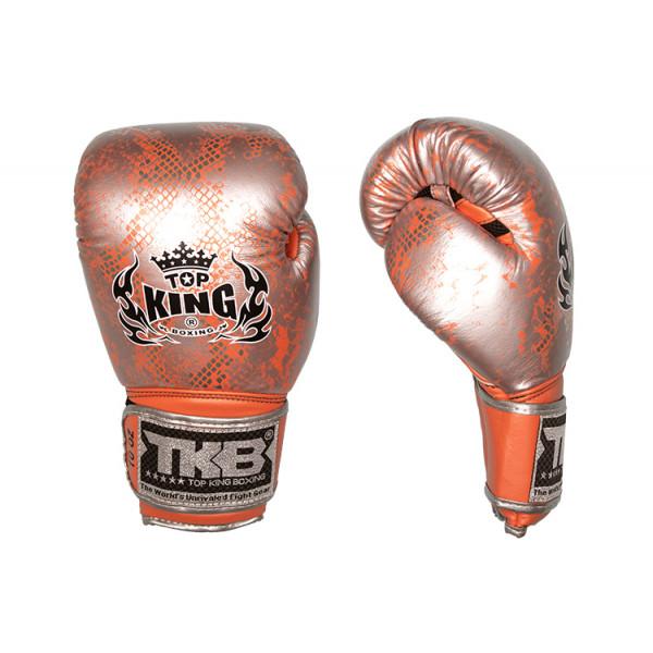 TOP KING 專業拳擊手套 蛇皮系列 銀/橘 - TK BG SS SI/OR
