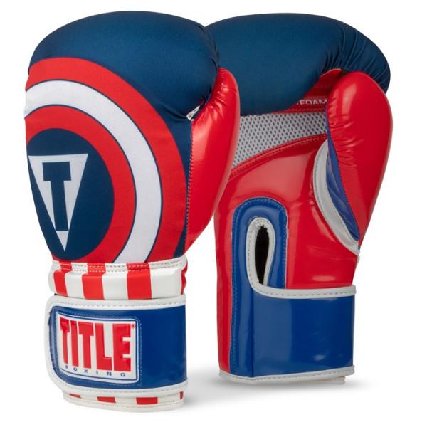 TITLE 英雄系列美國隊長 專業拳擊訓練手套 - 藍/紅 - IIFWNBG4
