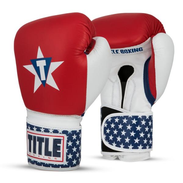 TITLE 經典美國真皮專業拳擊訓練手套 - 美國國旗 - USABG