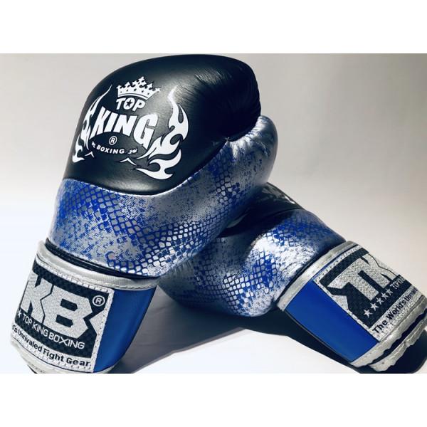 TOPKING 專業拳擊手套 蛇皮系列 黑-銀/藍 - TK BG SS BK-SI/BL