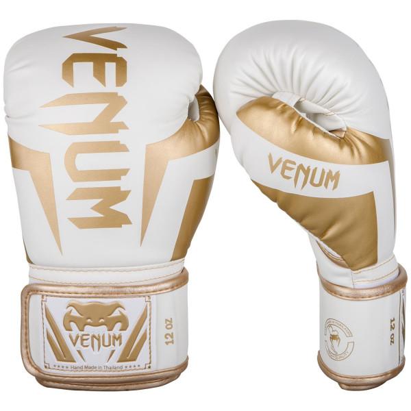 VENUM 專業拳擊手套 ELITE 菁英戰士系列 - 白/金 - EU-1392-226
