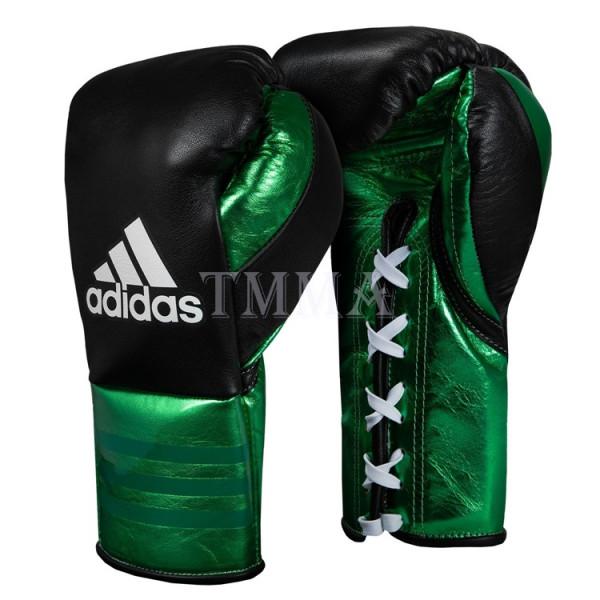 ADIDAS 頂級專業拳擊訓練手套 - 黑/綠 - ADIBFF
