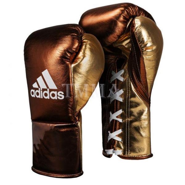ADIDAS 頂級專業拳擊訓練手套 - 棕/金 - ADIBFF
