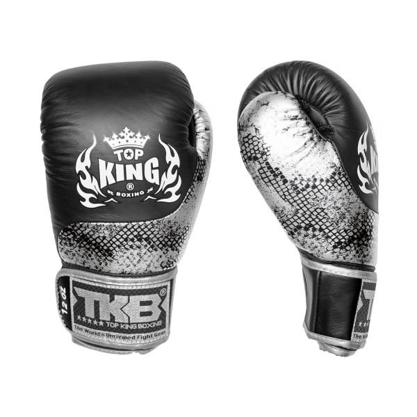 TOP KING 專業拳擊手套 蛇皮系列 黑-銀/黑 - TK BG SS BK-SI/BK