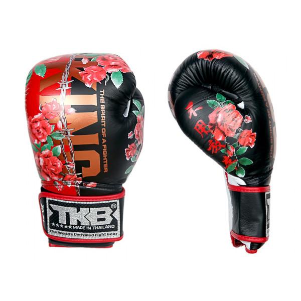 TOP KING 專業拳擊手套 戰士靈魂系列 - 玫瑰-黑/紅 - TK BG SOF ROSE-BK/RE