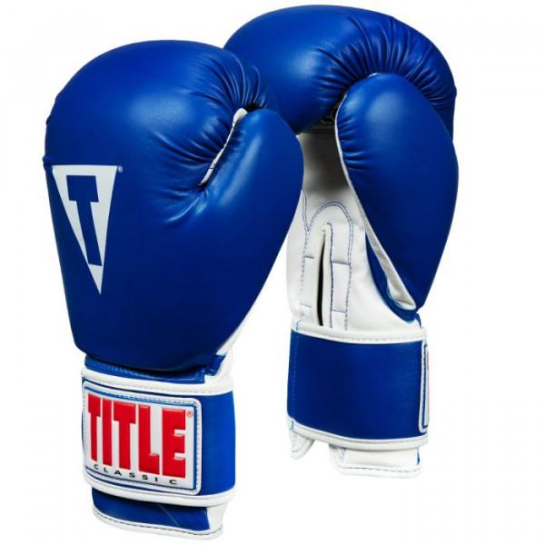 TITLE 經典專業拳擊訓練手套 - 藍/白 - CVVTG3