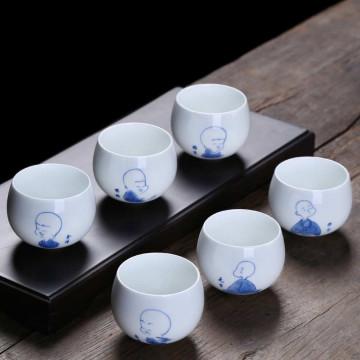 小和尚不倒翁杯套組   6入裝    陶瓷杯