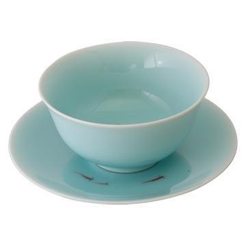 陶瓷碗  創意青瓷碗盤組 手繪紅魚