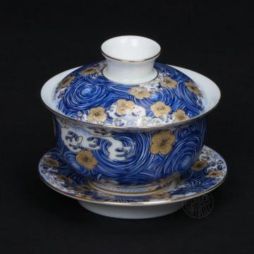 陶瓷-星月浪花蓋碗杯