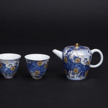陶瓷-星月浪花描金1壺2杯茶具組