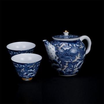 海浪奔翔 青花茶具組1壺2杯
