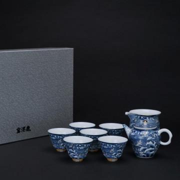 海浪奔翔 青花茶具組1壺1海6杯