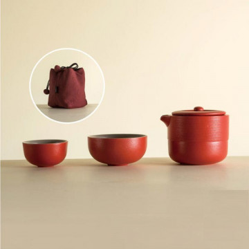 樂活陶器【 旋紋旅行組 】一壺兩杯壺袋
