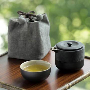 樂活陶器 【旋紋隨手泡 】一壺一杯壺袋