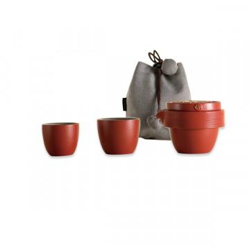 樂活陶器 【紅韻金吉旅行組  】一壺兩杯搭配壺袋 好評推薦