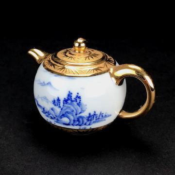 陶瓷 茶壺 鎏金-小圓珠壺