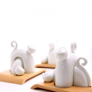 可愛貓椒鹽罐-相偎-純白系列