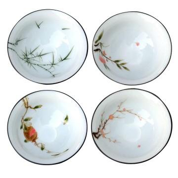 白瓷薄胎手繪斗笠杯、品茗杯(一組4杯)