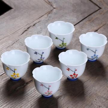 六瓣梅花杯、手繪茶杯、陶瓷功夫茶具品茗杯(一組6杯)