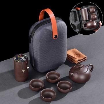 紫砂旅行茶具組1壺4杯+茶葉罐+茶巾+旅行包
