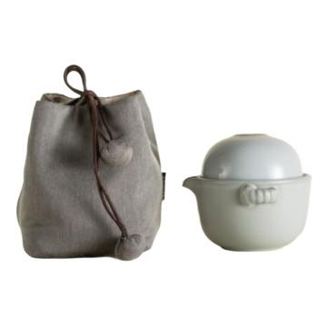 樂活陶器 【汝窯仙石隨手泡】 一碗一杯壺袋 旅行茶器