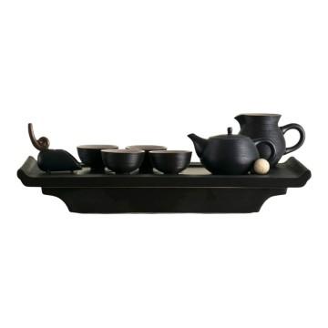 樂活陶器 【書香博古茶禮 】一壺一海 四杯 一茶則 茶盤_禪風黑
