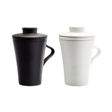 樂活陶器  【典雅蓋杯】一杯一蓋一茶格 經典仿石釉面