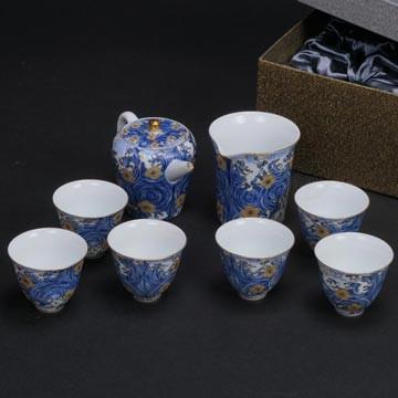 陶瓷-星月浪花描金1壺1海6杯茶具組