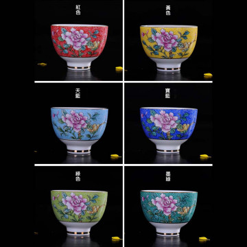 花開富貴6色茶杯組(琺瑯彩扒花茶杯)