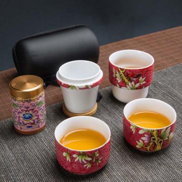 花開富貴1壺2杯茶具組