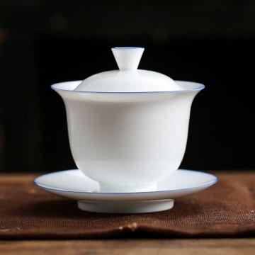 薄胎玉白瓷三件蓋碗