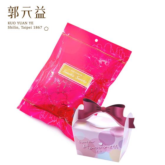 婚禮小物【郭元益】甜心喜糖袋+幸福Chuchu喜糖盒(粉紅)組合(限台灣)