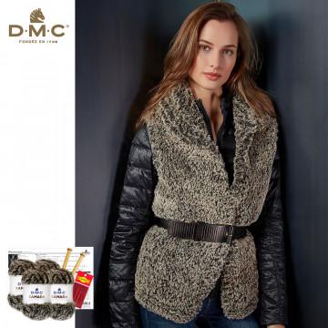 毛線DIY材料包-莎蔓皮草背心外套