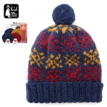 毛線DIY材料包-馬卡龍配色花樣帽