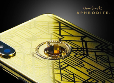 NavJack Aphrodite iPhone X-Art Deco 黃金金箔黃寶石手機 Luxury Tech 御立精品