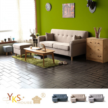 【YKS】維也納L型布沙發-獨立筒版(三色可選) ,加贈小椅凳(不挑款)