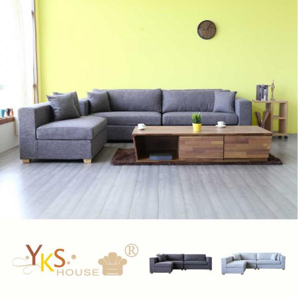 YKS-布拉格L型布沙發-獨立筒版(兩色可選)
