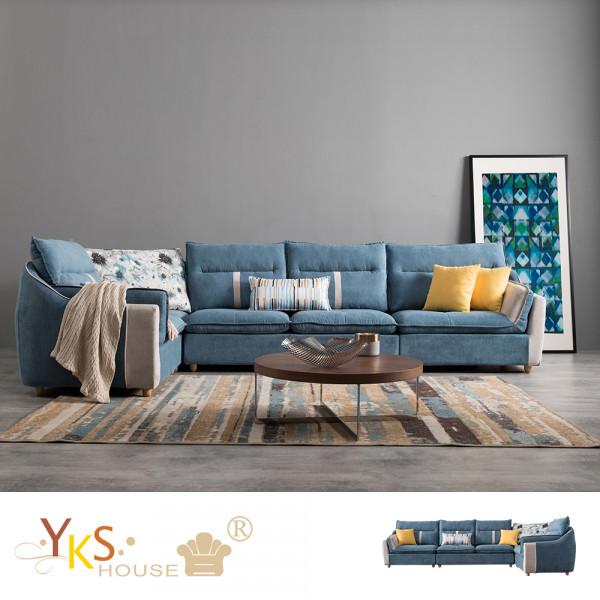 YKS-達文西L型布沙發-乳膠墊