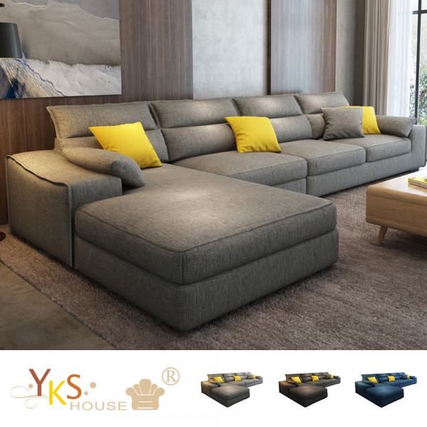 售價已折!YKS-葛瑞絲L型布沙發-獨立筒版(三色可選)