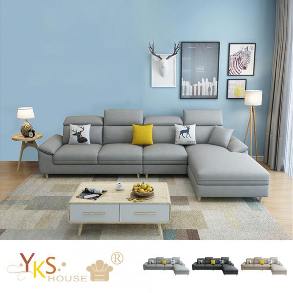 售價已折!YKS-克莉絲汀L型布沙發-獨立筒版(三色可選)