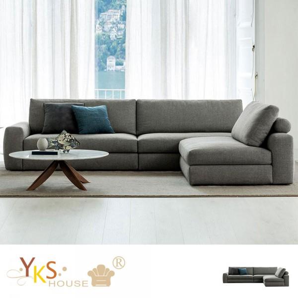 售價已折!YKS-布萊特L型布沙發-乳膠墊+獨立筒版
