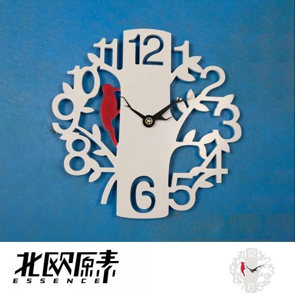 北歐原素-創意木質樹形小鳥掛鐘/客廳時鐘錶家用現代簡約(LS0115)-YKS