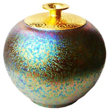 (大圓球瓶)繽紛人生聚寶盆~郭明本錳七彩結晶釉鎏金瓶