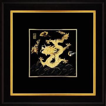 金箔畫 黃金畫純金 ~【祥龍獻瑞(右幅)】飛黃騰達純金龍