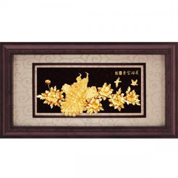 純金*盛景系列*牡丹孔雀【花開富貴】...133x69cm
