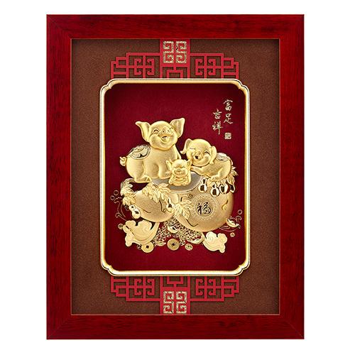 純金豬 金箔畫系列~【富足吉祥】....26 x33 cm