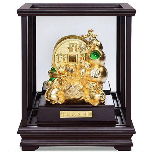 【福祿進寶 代代有財】金鼠 純金箔雕塑大櫥窗